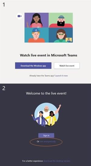 Attendee steps to log into a Microsoft Teams live event -- EventBuilder