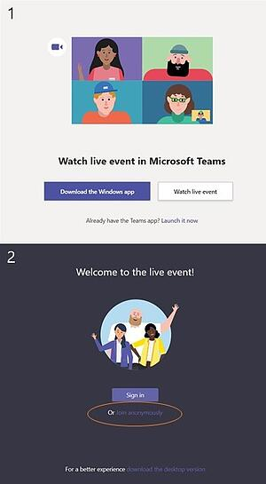 Attendee steps to log into a Microsoft Teams live event -- EventBuilder
