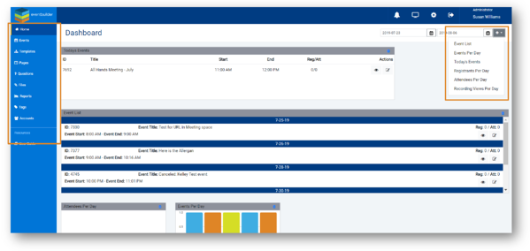 Screenshot: EventBuilder's main dashboard, including customization options and event listings.