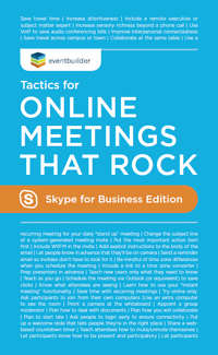 EventBuilder's Tactics for Online Meetings that Rock - Skype for Business Edition