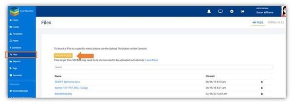Screenshot: File upload area.