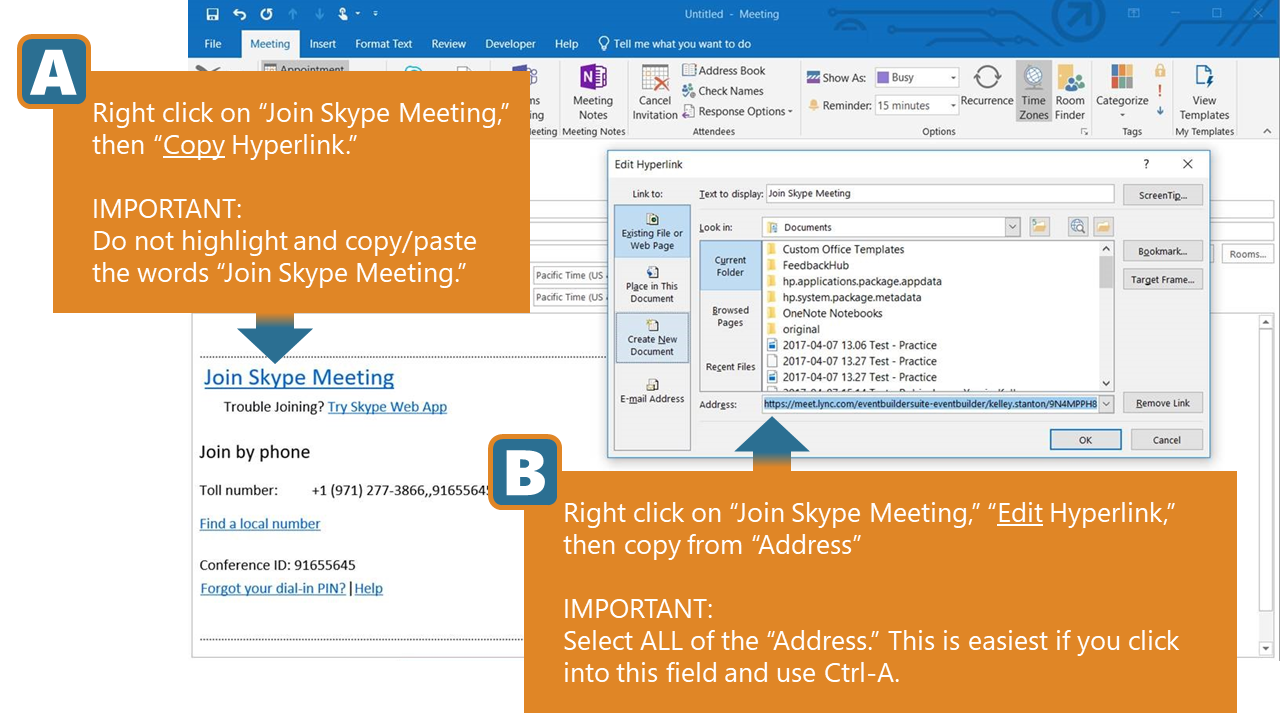 How to find the link (URL) for a Skype for Business meeting