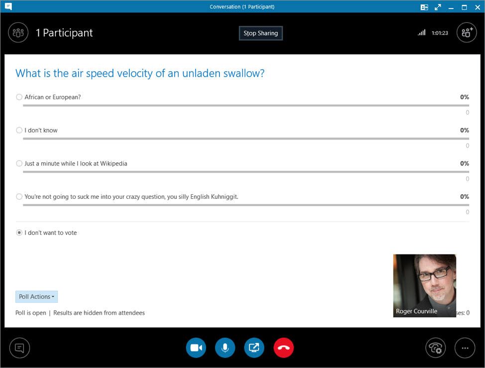 Skype for Business poll example