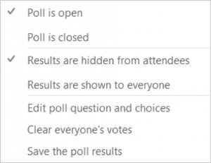 Skype for Business poll actions