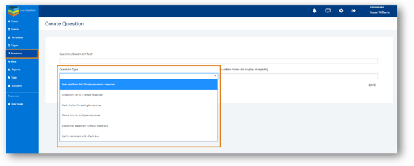 Screenshot: add/select questions for template dialog.