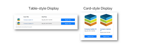 Screenshot: Listing Pages display type examples: Table-style and Card-style.