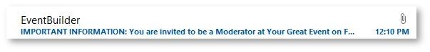 EventBuilder Outlook email invitation.