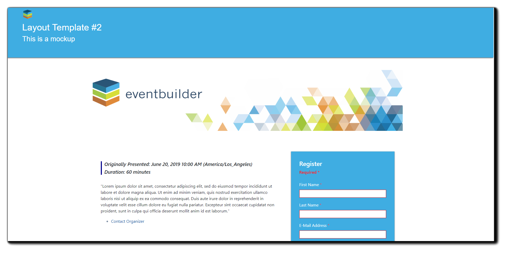 EventBuilder new layout option: Marquee - event info along the top.