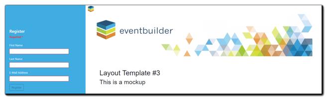 new EventBuilder layout option: Clean. Registration form on the side.