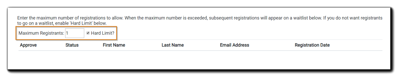 Screenshot: Waitlist dialog, with options for 'hard limit' and 'maximum registrants' highlighted.