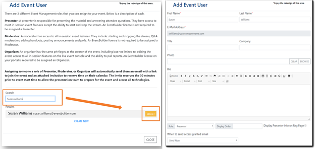 Screenshot: right side image, Select event user, left side image, create new event user.