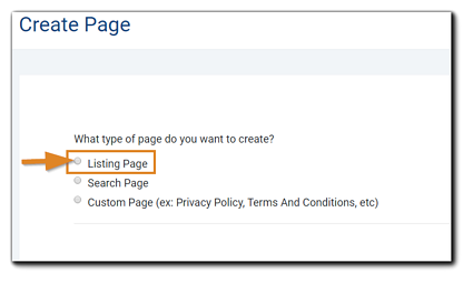 Screenshot: Create Page dialog with Listing Page radio button highlighted.