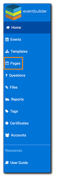 Screenshot: account dashboard with Pages option hightlighted.