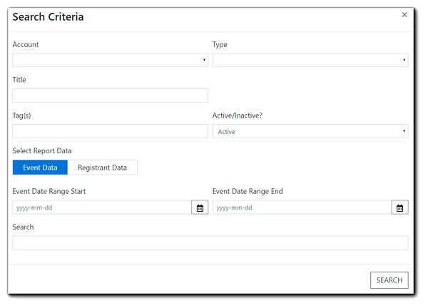 Screenshot: Search criteria window.