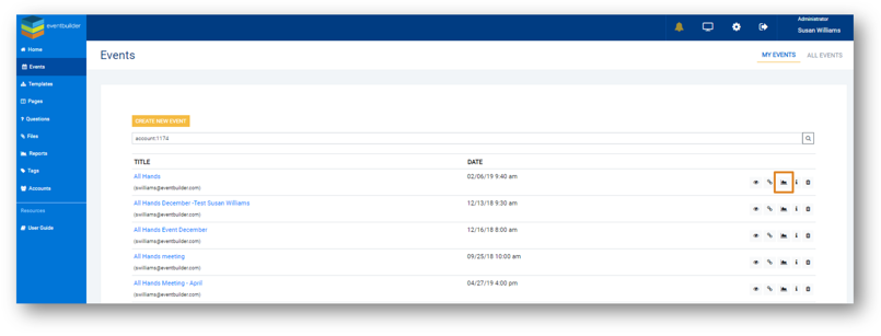 Screenshot: Events list in the Reports function with the Reports icon highlighted.