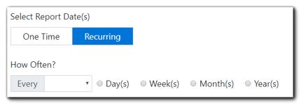 Screenshot: Recurring report date options.
