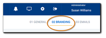 Screenshot: Branding section of the Portal Configuration section circled in orange.