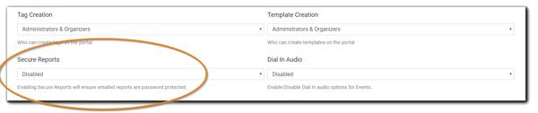 Screenshot: Secure Reports drop-down menu circled in orange.
