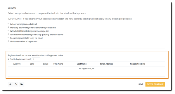 "Screenshot: The Security step with ""Manually approve registrants before they can attend"" selected, and the options for the setting highlighted in orange below."