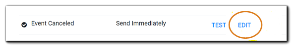 Screenshot: Event Cancelled email with the Edit option highlighted.