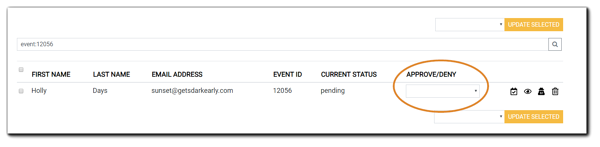 Screenshot: Registrant controls for approve/deny, redact, delete, view, or mark as attended.