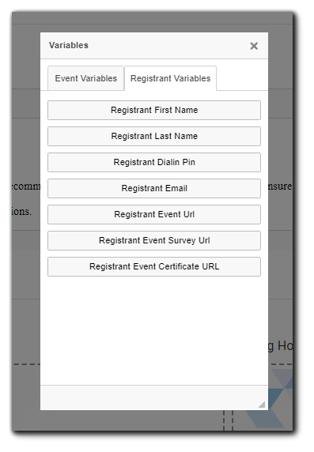 Screenshot: Registrant Variables window with Registrant options calendar invitation content.