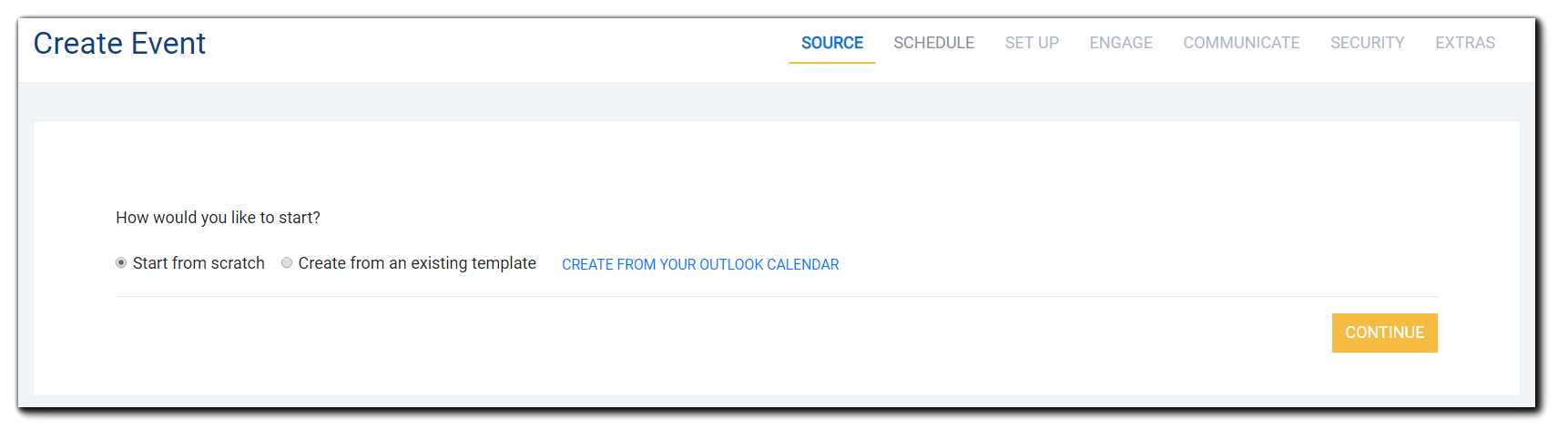 Screenshot: Event Creation options displayed: Start from scratch, Create from an existing template, and Create from your Outlook calendar.
