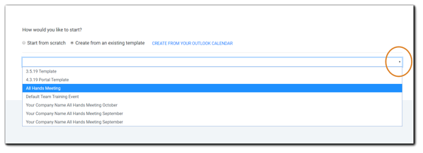 Screenshot: Create from an existing template dropdown menu.