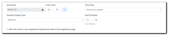 Screenshot: Event details options, including date, time, time zone, duration, duration display, and original date display option/