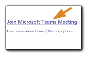 Screenshot: Join Microsoft Teams Meeting link from your Outlook calendar.