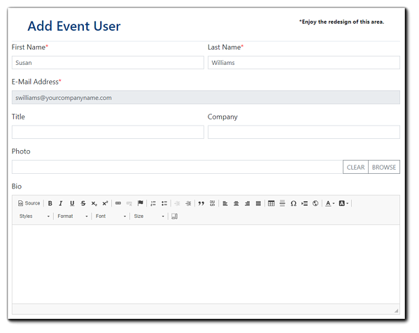 Screenshot: Add Event User window - where Organizers can add Presenters/Moderators and their title, company photo, and bio to their Event.