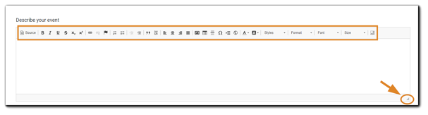 Screenshot: Describe your Event section with the editor toolbar and drag-to-expand highlighted.