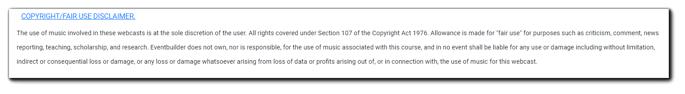 Screenshot: Copyright/Fair Use disclaimer