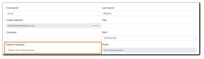 Screenshot: User details from Account Page with Default Template dropdown menu highlighted.