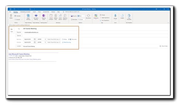 Screenshot: Outlook calendar meeting invite.