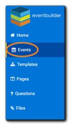 Screenshot: EventBuilder dashboard navigation with Events highlighted.