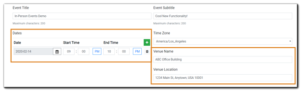 Screenshot: In-Person Event details including date(s), Venue Name, Venue Location.