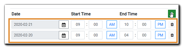 Screenshot: Option for adding additional dates and/or times to your In-Person-Event.