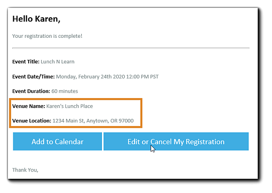 Screenshot: Registration confirmation email for In-Person Events, with venue name and address highlighted.