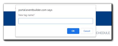 Screenshot: New Tag name dialog box.