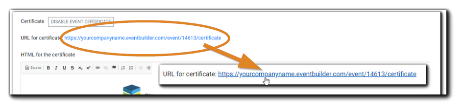 Screenshot: Completion Certificate URL circled, with a call out to highlight it.