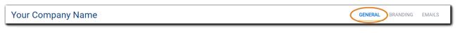 Screenshot: Top navigation bar for company Portal.