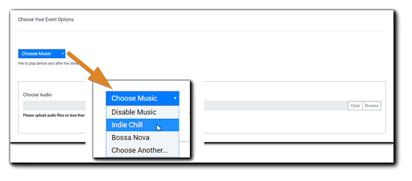 Screenshot: Choose Your Event Options section, with the Choose Music dropdown menu magnified.