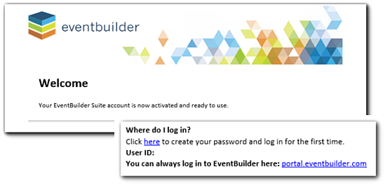 "Screenshot: Welcome email, with ""Where do I log in"" information included."