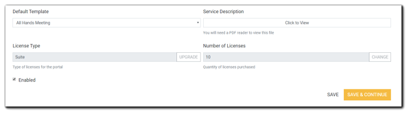 Screenshot: lower portion of Portal Configuration's General section, including Default Template, Service Description, License Type, and Number of Licenses.