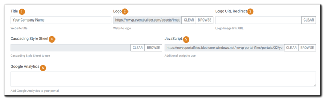 Screenshot: Logo, Style, and Analytics Section of Portal Configuration.