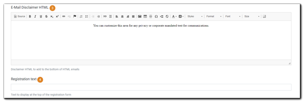 Screenshot: E-mail Disclaimer HTML editor, and Registration text field.