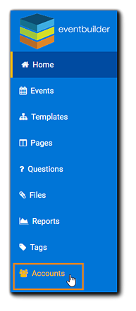 Screenshot: Portal navigation, with Accounts option highlighted.