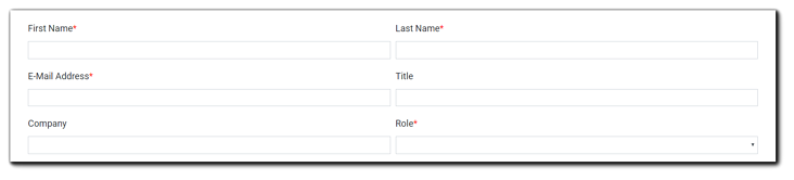 Screenshot: New Account setup fields: First Name, Last Name, Email, Title, Company, and Role.