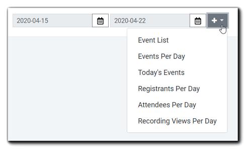 Screenshot: Available widget drop-down menu options.
